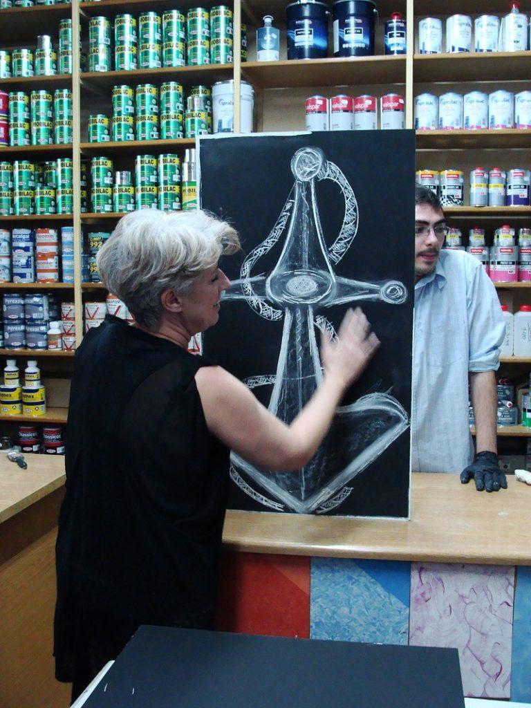 Αφού στεγνώσει, ζωγραφίστε με κιμωλία